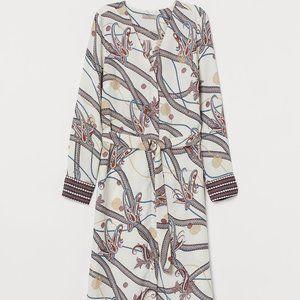 NWT H&M Dress with Belt - Cream/Paisley-Printed